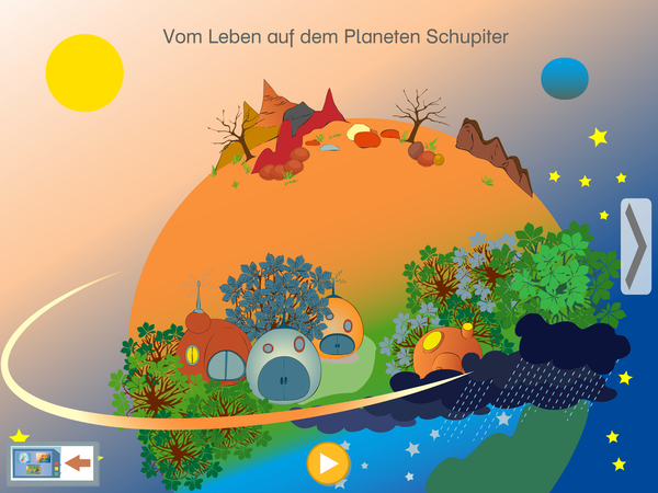 Screenshot: Der Planet Schupiter in der Sprachforscher-App von LIFEtool